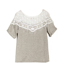 ZANZEA Korea Women's Plus sized Lace Batwing Sleeve T-Shirt  - White