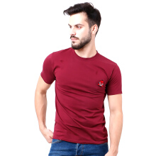 MONSTURO Maroon Tshirt for Men + Patch
