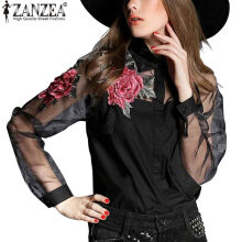 ZANZEA Women's Embroidery Floral Print Shirts - White