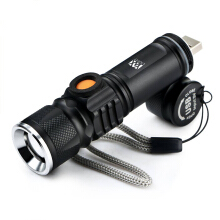 YWXLight LED Rechargeable USB Flashlights Lighting Inbuilt Lithium Battery Black