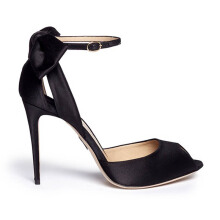 PAUL ANDREW Fatales Satin Bow Sandals  - Black