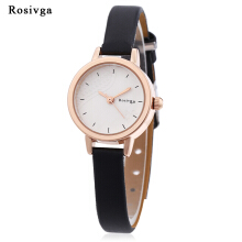 Rosivga 260 - 1 Female Quartz Watch Square Cut Glass Mirror Slender Leather Band Wristwatch