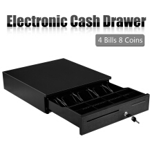Black Heavy Duty Cash Drawer With 4 Bills &amp 8 Coins(2 Row) Tray amp  1 Cheque Slots