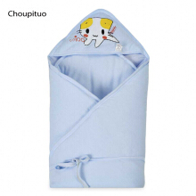 Choupituo Cute Cartoon Print Hooded Blanket for Babies(Blue)