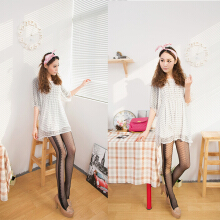 summer thin slimming black and white jacquard patchwork pantyhose transparent modified legs silk stockings