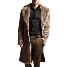 BESSKY Mens Warm Plus Thickening Long Coat Jacket Faux Fur Parka Outwear Cardigan _