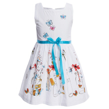 Fresh Style Girls Dress Boat Collar Flower Butterfly Print Cotton