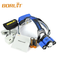 BORUIT RJ-5000 Plus B22 Rechargeable Zoom XM-L2+2X XPE LED Hunting Headlamp Micro USB Headlight Torch 18650 PCB Batteries BLUE