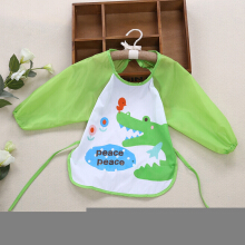 Cute Infant Baby Unisex Water Resistant Cartoon Letter Print Pattern  Anti-dressing Gowns Round Collar Lacing Elastic Bibs GREEN CROCODILE