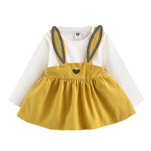 BESSKY 0-3 Years Old Autumn Baby Kids Toddler Girl Cute Rabbit Bandage Suit Mini Dress _