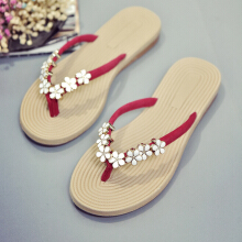 Women Summer Floral Flat Sandal Beach Metal Slippers