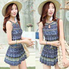 Women's Chic Ethnic Printed Keyhole Collar One Piece Swimwear