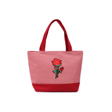 HUER Sheila Stripes Patches Small Tote Bag - Red