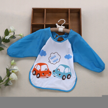 Cute Infant Baby Unisex Water Resistant Cartoon Letter Print Pattern  Anti-dressing Gowns Round Collar Lacing Elastic Bibs BLUE CAR