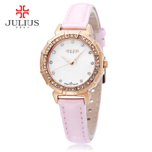 Julius JA - 757 Women Quartz Watch 3ATM Rhinestone Dial Bezel Slender Genuine Leather Band Wristwatch