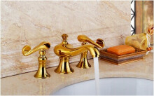 LANGFAN J4823 Bathroom Basin 3 Tub Gold Hot & Cold Water Faucet