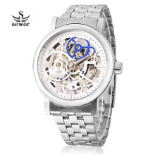 SEWOR SW085 Male Mechanical Hand Wind Watch Hollow-out Dial Luminous Stainless Steel Band Wristwatch