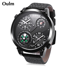 Oulm HP3707 Outdoor Sports Quartz Watch 3ATM Compass Thermometer Working Sub-dial Wristwatch