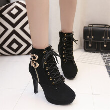 BESSKY Women Sexy High Heels Platform Ankle Boots Thin Heel Lace-Up Boots Shoes_