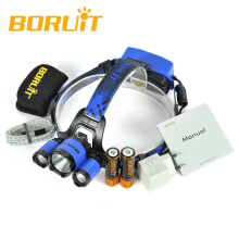 BORUIT B21 6000LM XM-L2+2*XPE Headlamp LED 18650 PCB Battery Hunting Headlamp Micro USB Headlight Torch fishing Cycling Blue