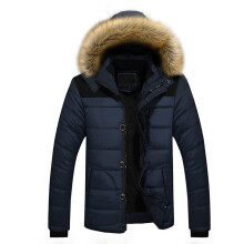 BESSKY Men Outdoor Warm Winter Thick Jacket Plus Fur Hooded Coat Jacket _