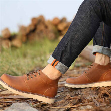 BESSKY Handmade Mens Retro Shoes Luxury Brand Dress Shoes Short Boots _