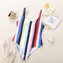 Women Colorful Siamesed Bikini Swimsuit Beach Bathing Suit