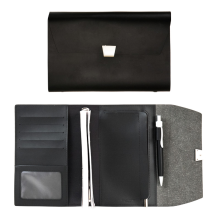 NUDESIGN Agenda with card Wallet & Zipper Pocket AGA05M - Black / 21x3x15cm