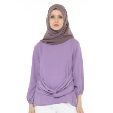 HAZELNUT Alaia Long Blouse Gather Sleeves Lilac [One Size]