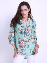 ZANZEA Women's Button Down Floral Printed Long Sleeve Shirt - Multicolor