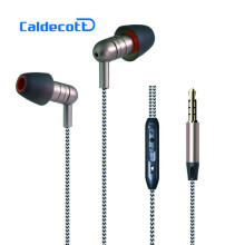 KYM KDK202 Woven Fiber Cloth Wired Earphone ln-Ear Noise Cancelling Headset Cheapest Earphones for iPhone Mobile Phone