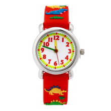 Keymao Jurassic Dinosaur Waterproof 3D Cute Cartoon Silicone Wristwatches Gift for Little Girls Boy Kids Children Red