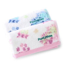 PurCotton Printed Handkerchief package 28x28cm Blue+Pink Flower 2piece