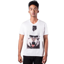 Neil Barrett Men Black Split Portrait Short Sleeve V-Neck Tshirt XS