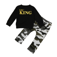 BESSKY Toddler Kids Baby Boy Letter T shirt Tops+Camouflage Pants Outfits Clothes Set_