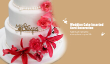 Mr Mrs English Letter Wedding Cake Inserted Card Decoration