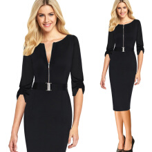 Kenancy Elegant Zipper Vintage Belted Spring Summer Casual Wear To Work Office Bodycon Pencil Sheath Dress With Belt
