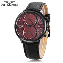 GUANQIN GS19014 Male Quartz Watch Date Chronograph Luminous Genuine Leather Band Wristwatch