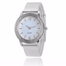 BESSKY Fashion Women Crystal Silver Stainless Steel Analog Quartz Wrist Watch- Silver