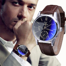 BESSKY Luxury Fashion Faux Leather Mens Blue Ray Glass Quartz Analog Watches-