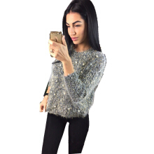 ZAFUL Women Pullover Ladies Sweater Casual Fahiong Beading Style Round Neck Long Raglan Sleeve Knitted Chic Sweater