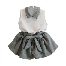 BESSKY Girls Sleeveless T-shirt Shorts Set Clothes Suit_