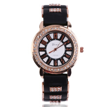 Bling Crystal Golden Women Girl Ladies Quartz Silicone Wrist Watch Strap