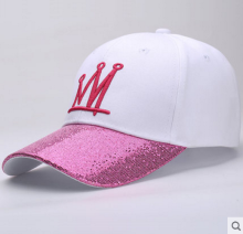 BAI B-286 Adjustable Baseball Cap MBL Hiphop cap with CROWN design White&Pink color
