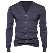 BESSKY Men Autumn Winter Button V Neck Long Sleeve Knit Sweater Cardigan Coat _