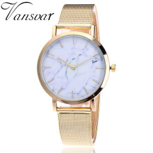 BESSKY vansvar Casual Quartz Stainless Steel Band Marble Strap Watch Analog Wrist Watch_
