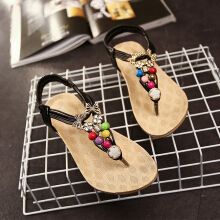 Women Summer Beads Elastic Band Sandals