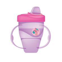 BABY SAFE Cup with Hard Spout 210ml - Purple Girrafe