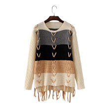 Round Collar Long Sleeve Fringed Pullover Women Sweater