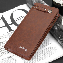 Men's Long Wallet Pockets Money Purse ID Credit Card Clutch Bifold DARK COFFEE